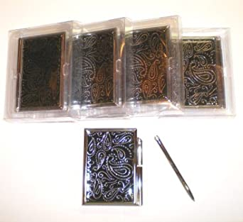 5 New Black Metal Memo Book Pad Notepad Case w/ Pen