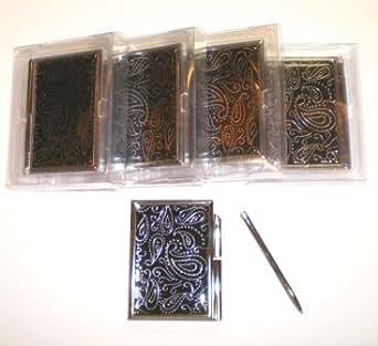 5 New Black Metal Memo Book Pad Notepad Case w/ Pen