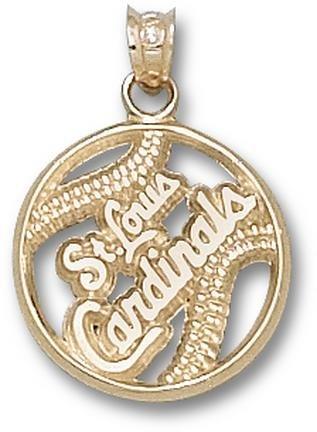 St. Louis Cardinals Pierced St. Louis Cardinals Baseball Pendant - 14KT Gold Jewelry by Logo Art