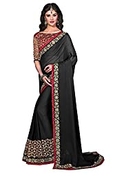 Women's Exclusive Black Embroidery Lace Border Georgette Sari with Blouse