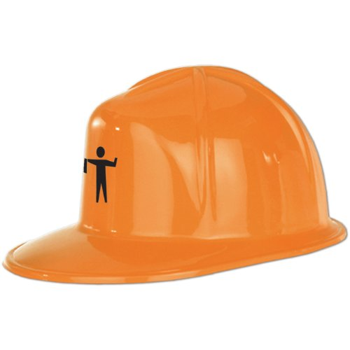 Printed Orange Plastic Construction Helmet Party Accessory (1 count)