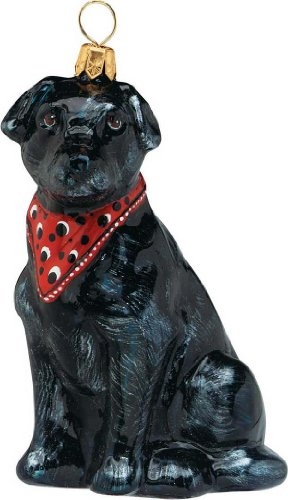 The Pet Set Blown Glass European Dog Ornament by Joy to the World Collectibles – Black Labrador Retriever Dog with Bandana