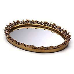 Taymor Antique Oval Mirror Trays, Gold