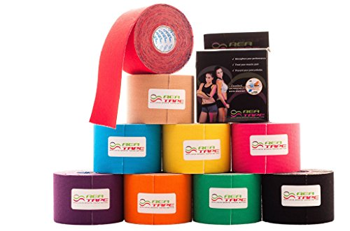 REA TAPE CLASSIC Kinesiology Tape ●HASSLE FREE MANUAL - NO NEED TO SIGN, NO NEED TO DOWNLOAD supplied with every tape ●Blue, Black, Beige, Pink, Green, Orange, Purple, Red, Yellow, White ●Best on the Market Premium Quality JAPANESE GLUE ●100% LATE