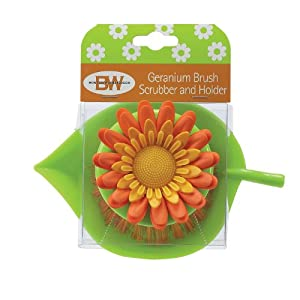 Boston Warehouse Geranium Brush Scrubber and Holder, Orange