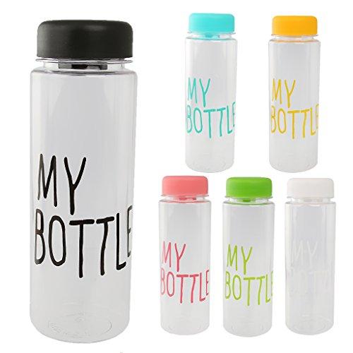 【ノーブランド 品】再利用可能  プラスチック製 ウォーターボトル 水ボトル ジュース 牛乳 カップ 手ボトル 500ML  全6色選べる - ブラック