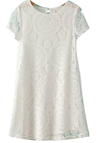 Women Casual Short Sleeve Lace Party Cocktail Loose Princess Mini Dress