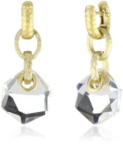 GALA by Daniela Swaebe Trendy Rhodium Plated Chunky Interlocking Hexagon Clear Earrings