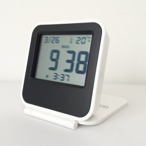 Hito™ Small Travel Folding Alarm Clock W/ Date, Temperature, Week, Alarm Status, Repeating Snooze And Blue Backlight