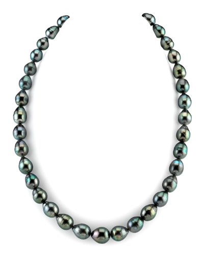 8-10mm Tahitian South Sea Baroque Pearl Necklace - AAA Quality, 24 Inch Matinee Length, 14K Gold Clasp