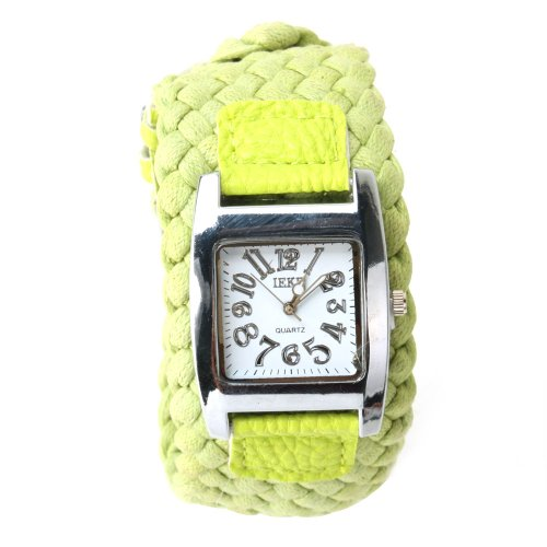 Yesurprise Lady Weave Fashion Wide Band Quartz Watch Green