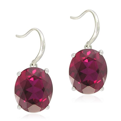 Sterling Silver Oval-Shaped Created Ruby Fishhook Earrings