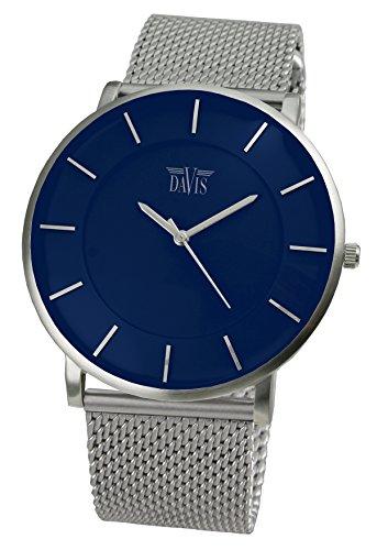 Davis - 0915MB- Montre Design Unisex Bleue - Quartz - Boîte Extra plate - Bracelet Mesh