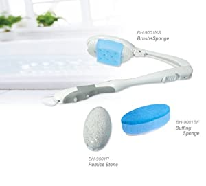 Lu La Bath Brush Gift Set - Adjustable Handle with 3 Interchangable Heads
