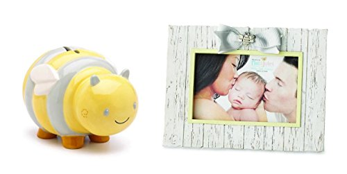Nat & Jules Baby Bee Happy Bumblebee Coin Bank and Photo Frame Set - 1