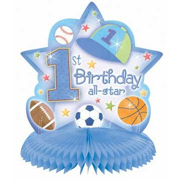 1st Birthday Boy 'All-Star' Honeycomb Centerpiece (1ct)