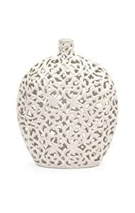 "13"" Small Country Chic Matte White Ceramic Lace Patterned and Textured Vase"