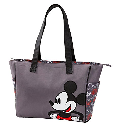 Disney Mickey Mouse Printed Graffiti Tote Diaper Bag, Gray - 1