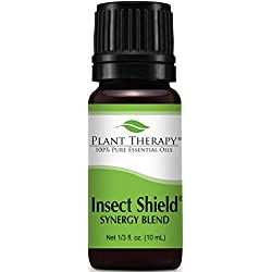 Insect Shield Synergy. Essential Oil Blend. 10 ml (1/3 oz). 100% Pure, Undiluted, Therapeutic Grade. (Blend of: Citronella, Eucalyptus, Cedarwood, Lemongrass, Lavender, Litsea, Tea Tree, Patchouli & Catnip)