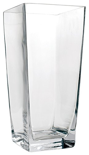 """Flower Glass Vase Decorative Centerpiece For Home or Wedding by Royal Imports - Tall Square Tapered Shape, 10"""" Tall, 5""""x5"""" Opening"""