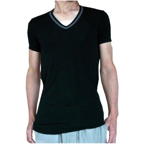 (カルバンクライン) Calvin Klein 半袖Tシャツ Micro Modal マイクロモダール Vネック メンズ 445576 【並行輸入品】 (M, 01.ブラック)