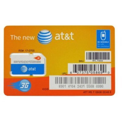 Link to AT&T 3G SIM Card (SKU 73043, 71247) – Unactivated SALE