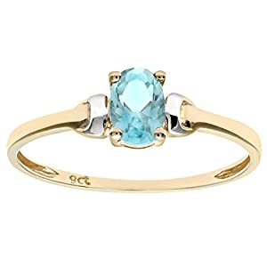 Luisant 9ct Yellow and White Gold Cubic Zirconia Aquamarine Birth Stone Ring Size M