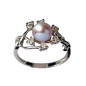 Entwining Vine Cultured Pearl Cubic Zirconia Ring in CAREFREE Sterling Silver, Lavender