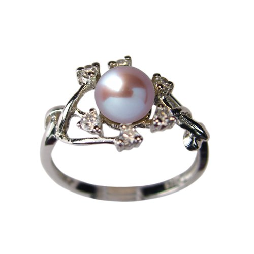 Entwining Vine Cultured Pearl Cubic Zirconia Ring in CAREFREE Sterling Silver Lavender