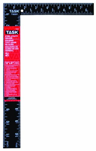 Task Tools T58201 12-Inch Steel Utility Square, White on Black Markings