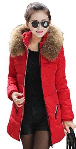 Il donne Sasti Faux Fur Parka Cappotto invernale giacca con cappuccio Newfacelook donne rosso M