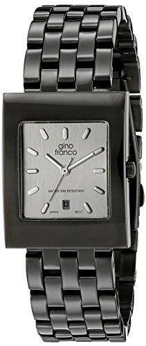 gino franco Men's 927SL Square Gunmetal Ion-Plated Bracelet Watch