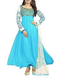 Surat Dream Women's Georgette Unstitched Dress Material(EC105, Blue)