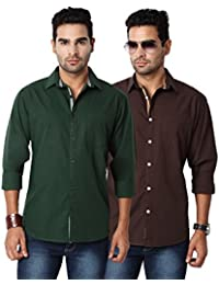Entigue Men's Cotton Slim Fit Full Sleeve Casual Shirt Combo (Set Of 2) - B019K8PSDG