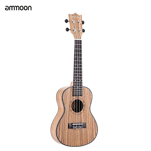 ammoon-24-Ukull-4-STRINGS-Zebrawood-Board-Rosewood-Fret-Board-Ox-Bone-Selle-Musical-Instrument-Gift-Present