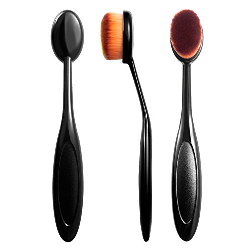Zodaca Small Oval Makeup Brush Toothbrush For Cosmetic Foundation Cream Powder Makeup Tool, Black/Brown (Blender Ball Powder compare prices)