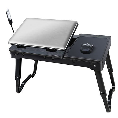 iMounTEK Portable Laptop Table Lap Desk With Laptop Cooling Pad LED Desk Lamp With Built in USB Hub (Black) (Cooler Desk compare prices)