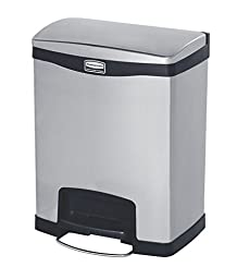 Rubbermaid Commercial Slim Jim Stainless Steel Front Step-On Wastebasket, Front-Step, 8-gallon, Black (1901985)