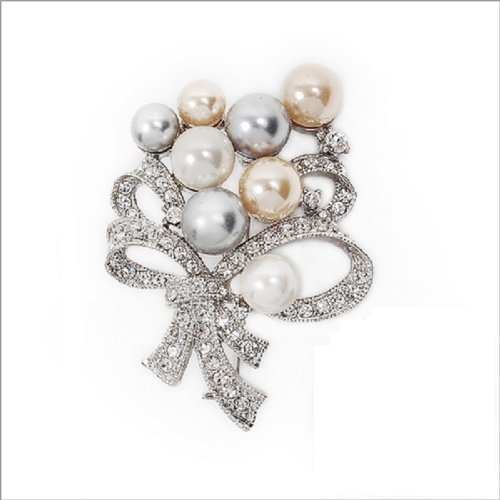 Fashion Crystal with Pearl Brooch #006588