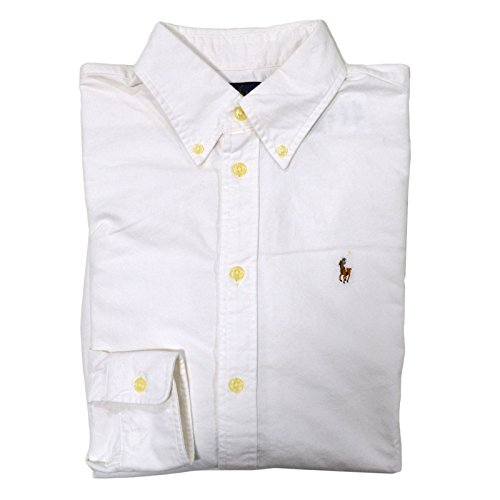 Ralph Lauren Womens Oxford Classic Fit Button Down Dress Shirt (White, Large)