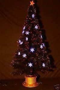 Árbol de Navidad óptico de fibra negra 84 pulgadas con copos de nieve