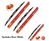 Volvo 480 Coupe Front & Rear Wiper Blades (1986 - 1996) Trupart TP53/53/40