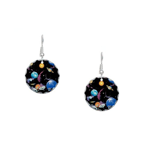 Earring Circle Charm Solar System And Asteroids