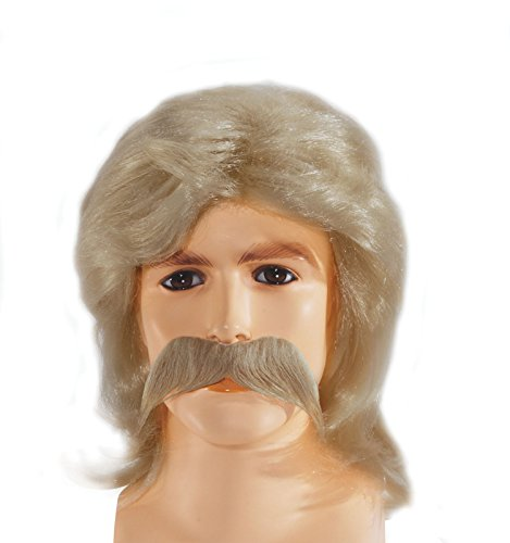 Feather Style Redneck Mullet with Moustache Wig Blonde One Size (Adult)
