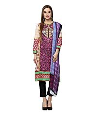 Yepme Women's Purple Blended Semi Stitched Suit - YPMRTS0322_Free Size