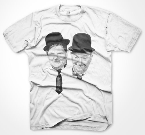Mens Laurel & Hardy T Shirt For Men & Boys - White, Hollywood Classics Tee Shirts Size Large -TSM140