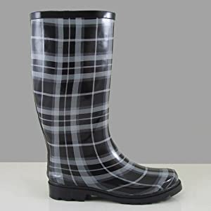 NB9013 Women Mid Calf Rain Boots Black White Plaid