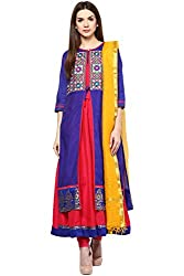 Trishaa by Pantaloons Women's Straight Churidar Kurta Dupatta ( 205000005645206, Blue, Medium)