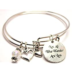 Not All Who Wander Are Lost Adjustable Bangle Bracelet