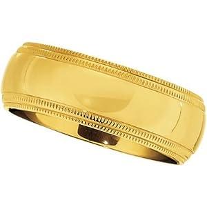 8 mm Comfort Fit Titanium Gold IP Double Milgrain Ring Size 7